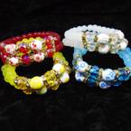 Super Elegant 2 Line Glass & Crystal Bead Bracelet w/ CeramicBead .60 ea