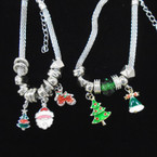 Pandora Style Christmas Theme Bracelet  w/ Colored  Charms  .56 each