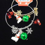 Gold & Silver Adjustable Wire Bangle w/ Christmas Charms (98) .54 ea