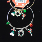 Gold & Silver Adjustable Wire Bangle w/ Christmas Charms (99) .54 ea
