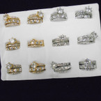 Gold & Silver Crystal Stone Wedding Band Sets .54 ea set