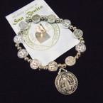 Silver Stretch Bracelets w/ San Benito Silver Charm & Story Card .54 each