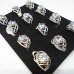 Fashionable Silver Crystal Stone Rings 12 per tray  .54 each