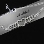 Silver Rhinestone Heart Chain Anklets 12 per card .54 each
