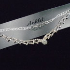 Fashionable Silver Rhinestone  Chain Anklets 12 per card .54 each