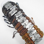 Teen Leather Bracelet SIlver Zodiac Plaque  .54 ea