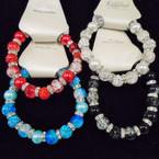Glass Bead & Crystal Fireball Bead  Fashion Bracelets .54 each