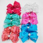 """6"""" Multi Layer Fashion Gator Clip Bow w/ Pearl & Crystals .54 each"""