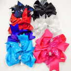 "5"" Layered Gator CLip Bows w/ Sequins & Crystal Stones  .50 each"