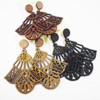 "2.5"" Wood Fashion Design Earrings 3 colors .50 each"
