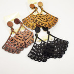 "2"" Wood Fashion Design Earrings 3 colors .50 each"