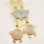 "2"" Gold & Silver Crystal Stone Turtle Earrings .54 ea pr"