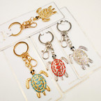 Cast Gold & Silver Crystal Stone Turtle Keychain/Clip  .54 each