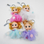 "Cute 4"" Doll Keychains w/ Lace Dress 12 per pack .56 each"