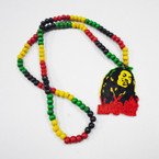 "30"" Wood Bead Rasta Theme Large Pendant Necklaces .54 each"
