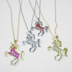 Gold & Silver Chain Necklace Set w/ Crystal Stone Unicorn .54 each