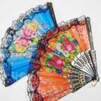"9"" Black Handle Fabric Lace Fan w/ Flower Pattern  12 pk  .54 ea"
