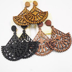 "2"" Wood Fashion Design Earrings 3 colors (92) .50 each"