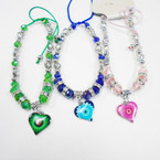 Crystal & Heart Bead Bracelet w/ Colorful Heart Charm .54 each