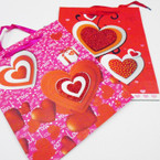 "Hi Quality Raised Glitter Heart  Gift Bags 10"" X 12.5"" Only .56 ea"