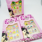 Kids Fun Designs 12 Pk Pre Glued Fashion Nails  .54 each set