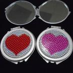 "2.75"" Silver w/ Acrylic Heart  DBL Mirror Compact  12 per pk  .54 ea"