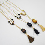 2 Strand Gold Fashion Necklace w/ Wood Beads & Tassels .54 each