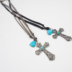 "30"" 2 Strand Suede Cord Necklace w/ Silver Cross & Stone Turq. Heart .54 ea"