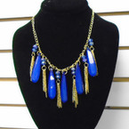 "20"" Gold Chain Neck Set w/ Dangle Lg. Colorful Beads & Chains .54 ea set"