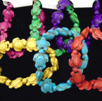 6-Asst Color Stone Turtle Stretch Bracelet .54 ea