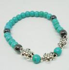Turq. & Hematite Bead Stretch Bracelet w/ Silver Turtles .54 each
