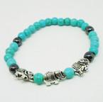 Turq. & Hematite Bead Stretch Bracelet w/ Silver Elephants .54 each