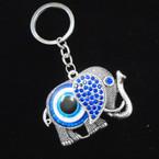 Cast Silver Elephant Keychain w/ Blue Crystals & Eye .56 each