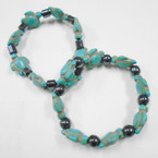 Turquoise Stone Turtle & Hematite Bead Stretch Bracelets .54 each