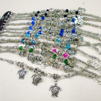 Silver & Crystal Bead Bracelets w/ Turtle Charms .54 each
