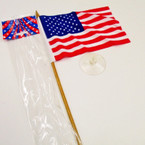 "11"" Gold Stick w/ 4"" X 6"" USA Flag & Suction Cup .25 each"