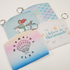 "4"" X 5"" Mermaid Theme Zipper Coin Purse w/ Key Chain .54 each"