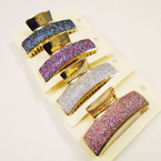"3.5"" Gold Palted Fashion Jaw Clips w/ Metallic Glitter .56 each"