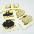 "2 Pack 1.5"" Heart Fashion Jaw Clips Stone Look .54 per set"