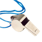 "1.75"" Silver Metal Whistles on Cord Necklace 12 per pk .33 each"