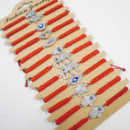Red Macrame Cord Bracelets w/ Mixed Style Crystal Stone Charm .54 each