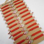 Red Macrame Cord Bracelets w/ Crystal Stone Hamsa .54 each