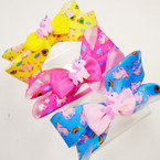 "Satin Headband w/ 4"" Unicorn Print Bow  .54 each"
