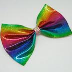 "5.5"" Metallic Glitter Rainbow Gator Clip Bow w/ Crystal Stones .54 each"