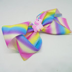 "5"" Rainbow Print Gator Clip Bow w/ Unicorn .54 each"