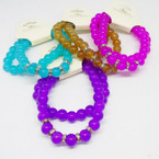 2 Pack Glass Bead Stretch Bracelets w/ Mini Crystals .54 per set