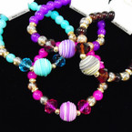 Crystal & Glass Bead Stretch Bracelets w/ Mini Crystals .54 each
