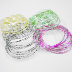 18 Pack Fancy SIlver Metal Bangles Asst Colors .50 per set
