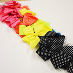 "Big 6"" Neon Color Poka Dot Gator Clip Bows .45 each"