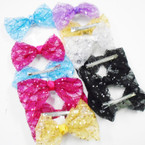"5"" See Thru Sequin Fashion Gator Clip Bows .42 each"